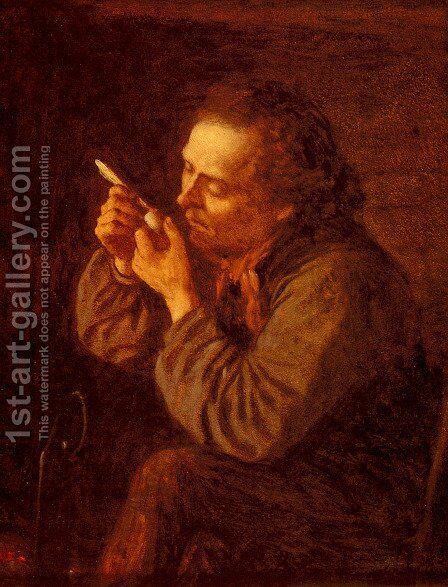 Lighting His Pipe by Eastman Johnson - Reproduction Oil Painting