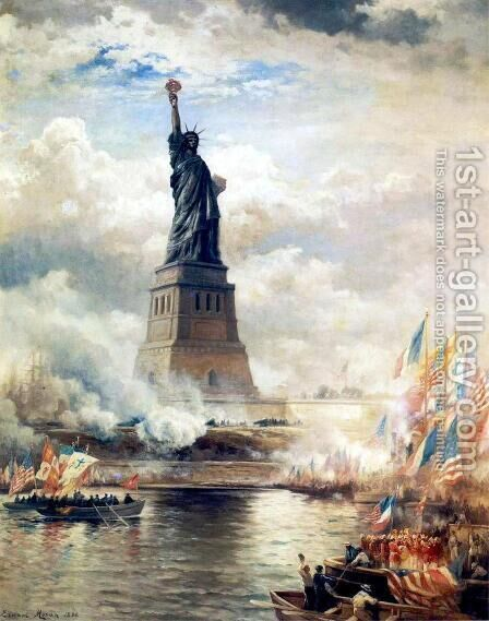 Unveiling the Statue of Liberty by Edward Moran - Reproduction Oil Painting