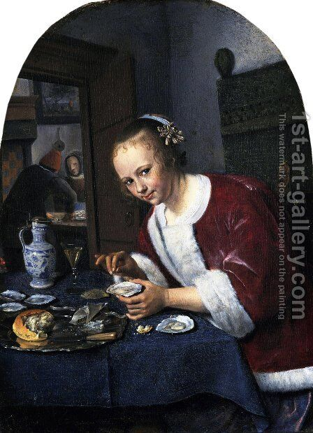 Girl Offering Oysters by Jan Steen - Reproduction Oil Painting