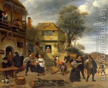 Peasants outside an Inn by Jan Steen - Reproduction Oil Painting