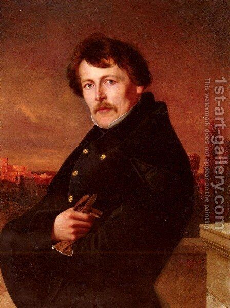 A Portrait Of A Gentleman, Rome In The Distance by Adolf Schmidt - Reproduction Oil Painting