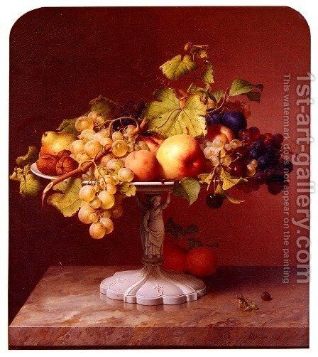 A Still Life With A Bowl Of Fruit On A Marble Table by Johann Wilhelm Preyer - Reproduction Oil Painting