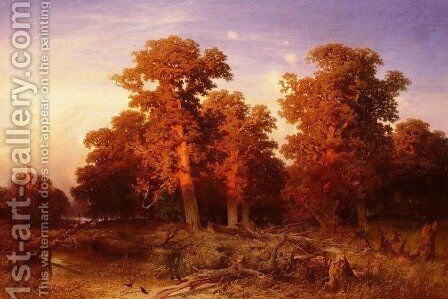 Sunset In A Hungarian Forest by August Schaeffer - Reproduction Oil Painting