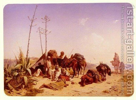 Mittagruhe In Algier (Noon Rest in Algiers) by Theodore Horschelt - Reproduction Oil Painting