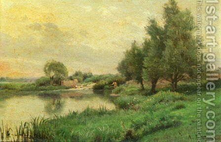 Pecheur au bord de la riviere (Fisher by the river) by Alfred Renaudin - Reproduction Oil Painting