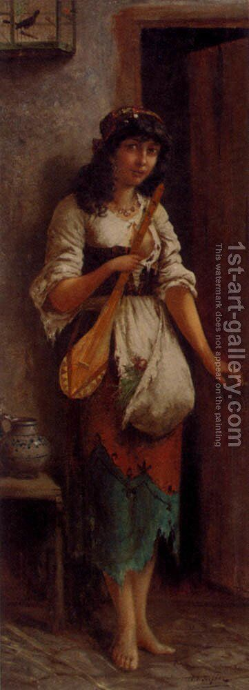 An Italian Street Musician by Moritz Stifter - Reproduction Oil Painting