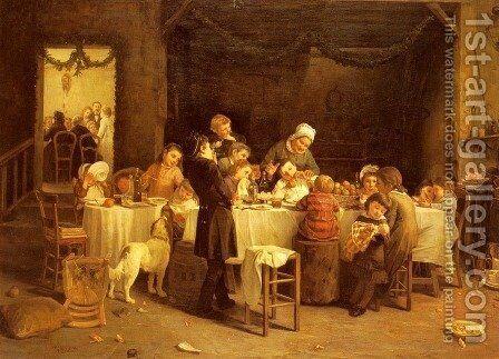La Table Des Enfants (The Children's Table) by Charles Bertrand D'entraygues - Reproduction Oil Painting