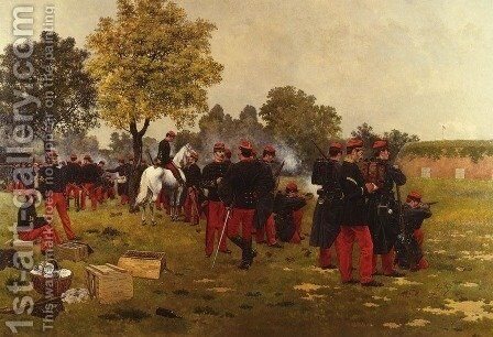 Le Tir A La Cible (Target Practise) by Achille Jean Theodore Brail - Reproduction Oil Painting