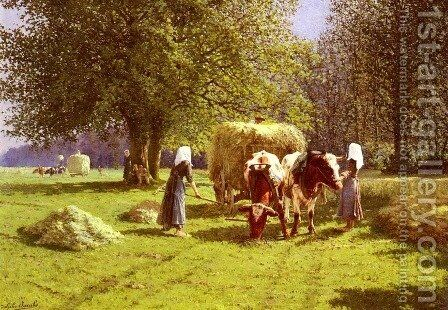 Les Fenaisons (Haymaking) by Adolphe Jacobs - Reproduction Oil Painting