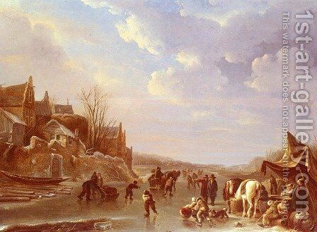 A Winter Scene In Holland by Andries Vermeulen - Reproduction Oil Painting