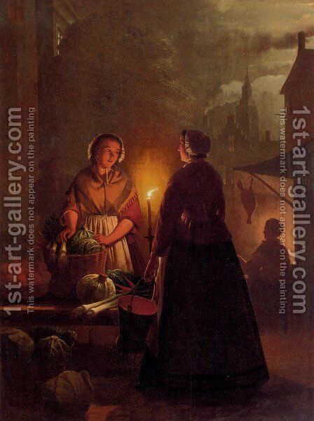 The Vegetable Market At Night by Andries Vermeulen - Reproduction Oil Painting