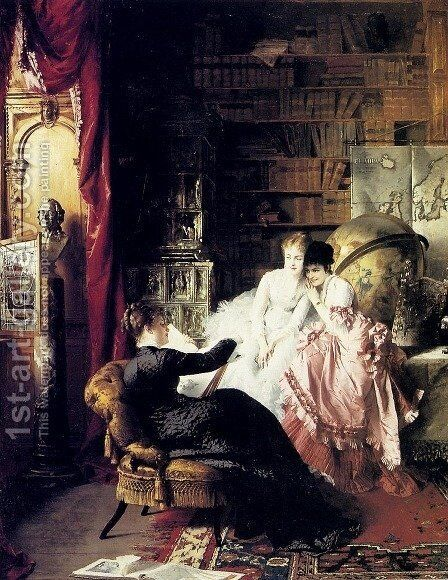 The Lesson by Conrad Kiesel - Reproduction Oil Painting