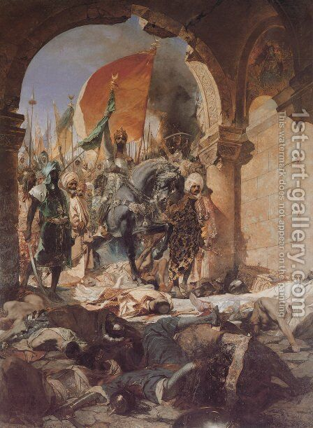 The Entry of Mahomet II into Constantinople by Benjamin Jean Joseph Constant - Reproduction Oil Painting