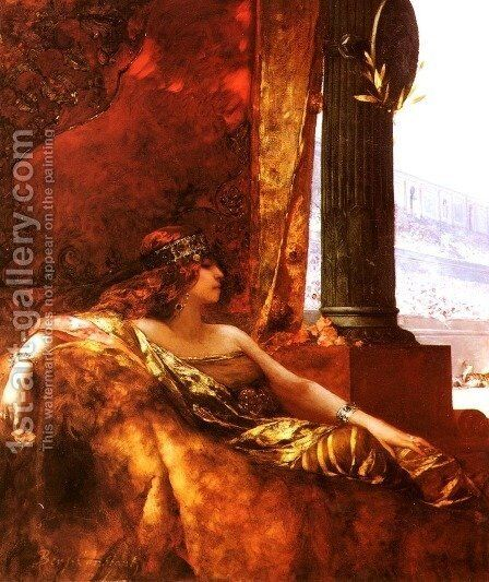 L'Imperatrice Theodora au Colisée (The Empress Theodora at the Colisseum) by Benjamin Jean Joseph Constant - Reproduction Oil Painting