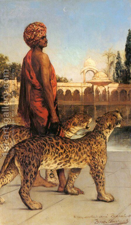 Palace Guard with Two Leopards by Benjamin Jean Joseph Constant - Reproduction Oil Painting