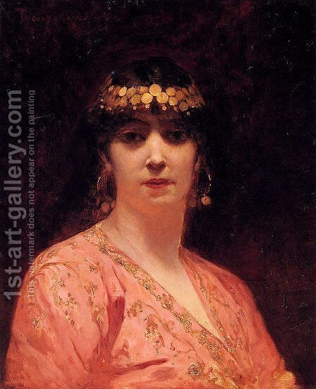Portrait Of An Arab Woman by Benjamin Jean Joseph Constant - Reproduction Oil Painting
