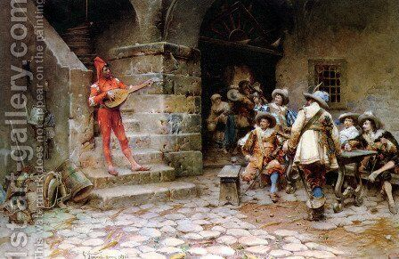 The Minstrels Story by Gustavo Simoni - Reproduction Oil Painting