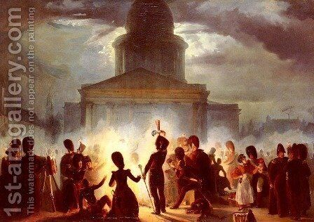 A Bivouac In The Place Du Pantheon by Auguste Raffet - Reproduction Oil Painting