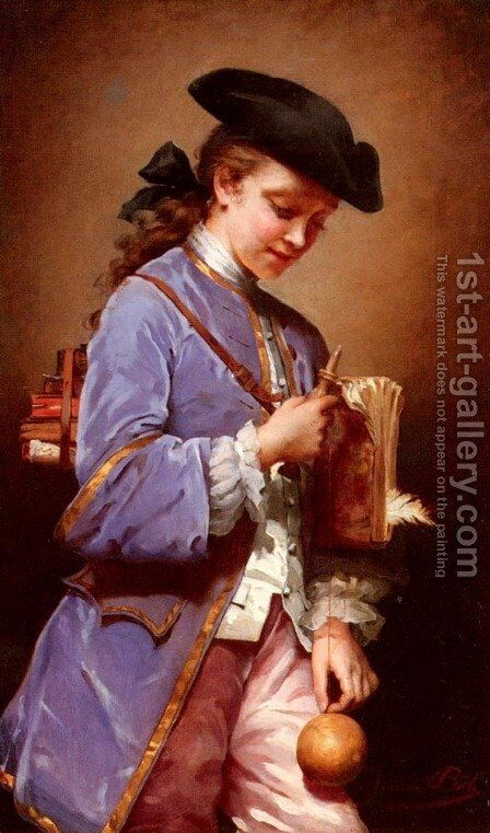 L'enfant Au Bilboquet (Child with the Cup-and-ball) by Jeanne Bole - Reproduction Oil Painting