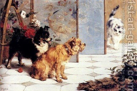 Playful Friends by Charles van den Eycken - Reproduction Oil Painting