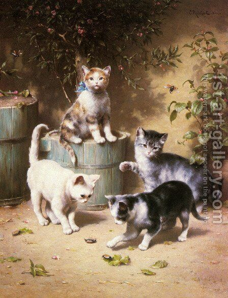 Kittens Playing with Beetles by Carl Reichert - Reproduction Oil Painting