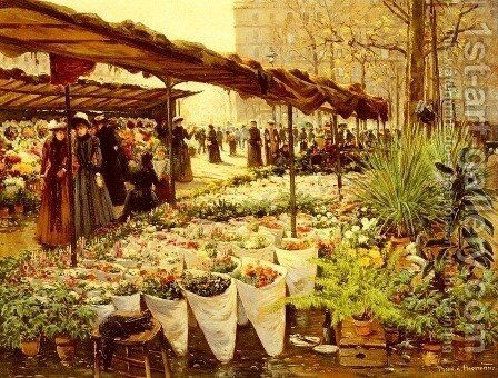 Marche Aux Fleurs A La Madeleine by Theodor von Hoermann - Reproduction Oil Painting