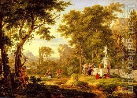 A classical landscape with the Worship of Bacchus by Jan Van Huysum - Reproduction Oil Painting