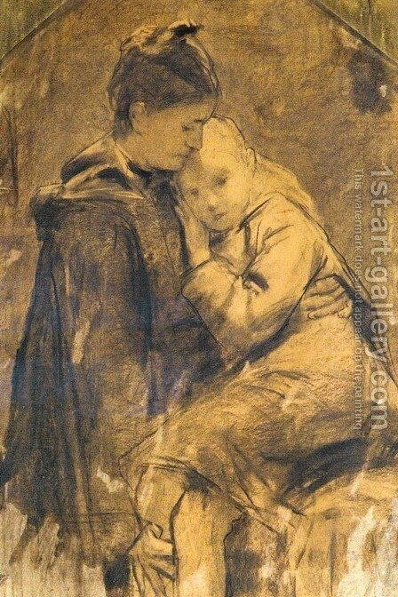 Mutter Und Kind (Mother and Child) by Albert Anker - Reproduction Oil Painting