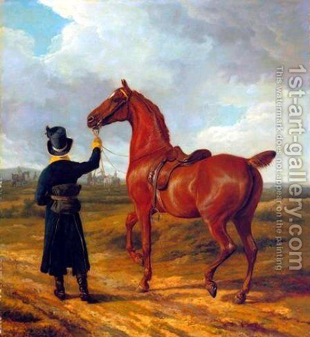 Lord Rivers' Groom Leading a Chestnut Hunter towards a Coursing Party in Hampshire by Jacques Laurent Agasse - Reproduction Oil Painting