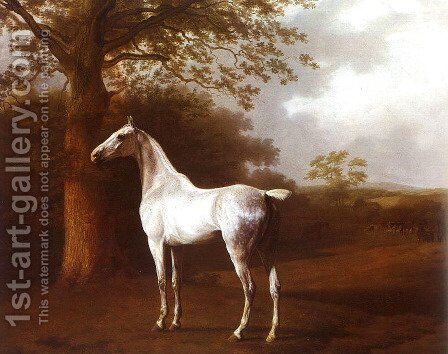 White Horse in Pasture by Jacques Laurent Agasse - Reproduction Oil Painting