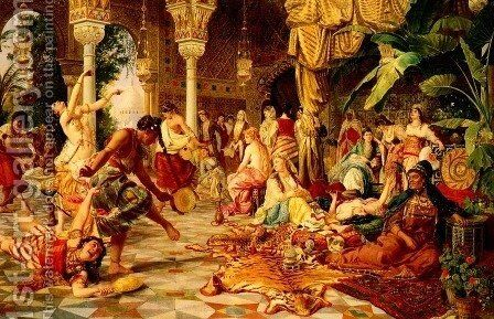 Entertainment In The Harem by Belisario Gioja - Reproduction Oil Painting