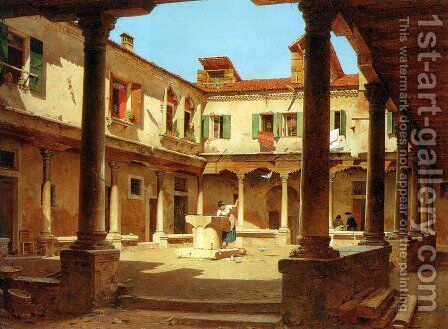 In The Courtyard by Adolf Seel - Reproduction Oil Painting