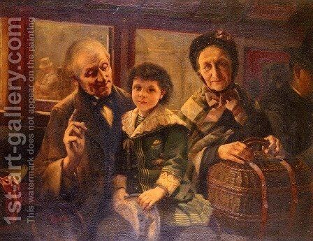 On The Omnibus by Henri Coeylas - Reproduction Oil Painting