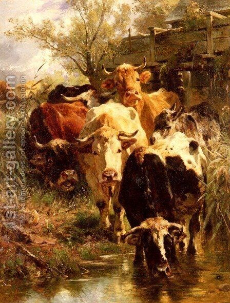 Heading For Water by Anton Braith - Reproduction Oil Painting