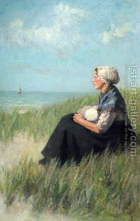 Mother and Child in the Dunes by David Adolf Constant Artz - Reproduction Oil Painting