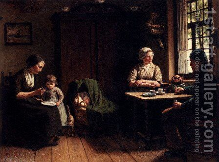 Voor Vader's Thuiskomst: Awaiting Father's Homecoming by David Adolf Constant Artz - Reproduction Oil Painting