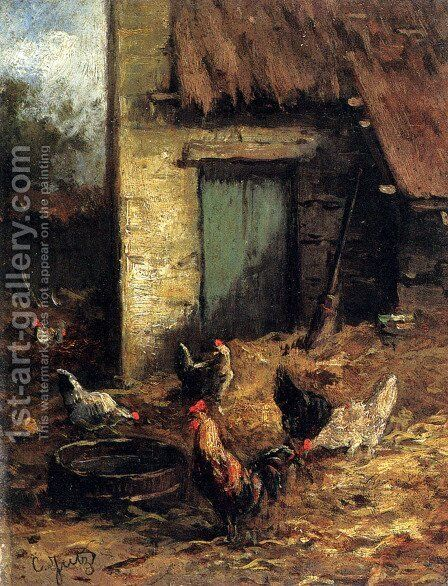 Poultry In A Farmyard by Carl Jutz - Reproduction Oil Painting