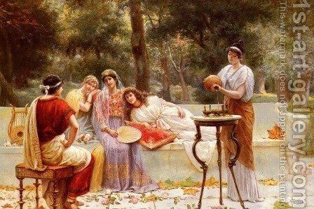 Classical Figures In A Garden by A. Zoffoli - Reproduction Oil Painting