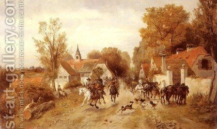 The Approaching Cavalry by Alfred Ritter von Malheim Friedlander - Reproduction Oil Painting