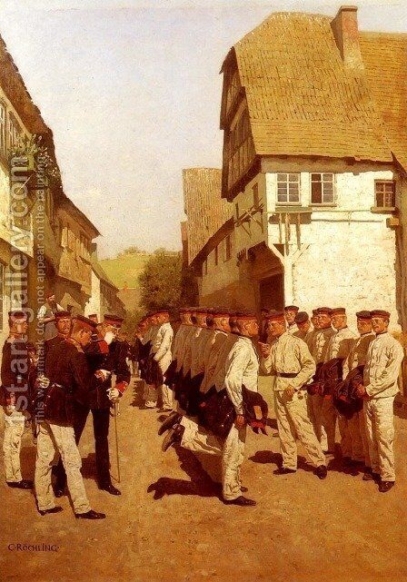 Military Cadets Preparing For Parade by Carl Rochling - Reproduction Oil Painting