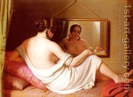 A Woman Before A Mirror by Anton Einsle - Reproduction Oil Painting