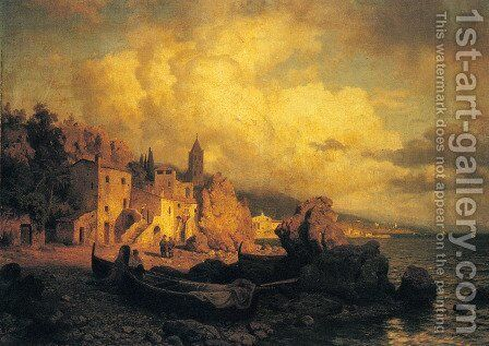 A Coastal Fishing Village by August Wilhelm Leu - Reproduction Oil Painting