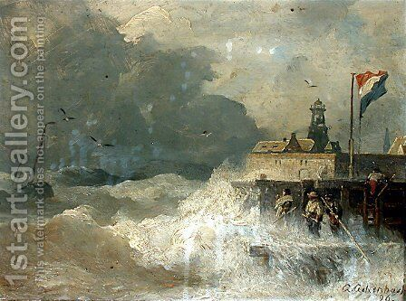 Sturm an der Küste (Storm at the Coast) by Andreas Achenbach - Reproduction Oil Painting
