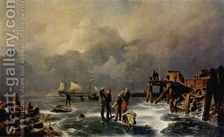 Ufer des zugefrorenen Meeres (Winterlandschaft) (Bank of the Frozen Over Sea (Winter Landscape)) by Andreas Achenbach - Reproduction Oil Painting