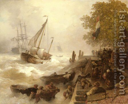 Hafeneinfahrt Bei Rauher See (Return To Harbour In Rough Seas) by Andreas Achenbach - Reproduction Oil Painting