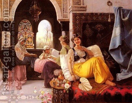 A Harem Scene by Blas Olleras y Quintana - Reproduction Oil Painting