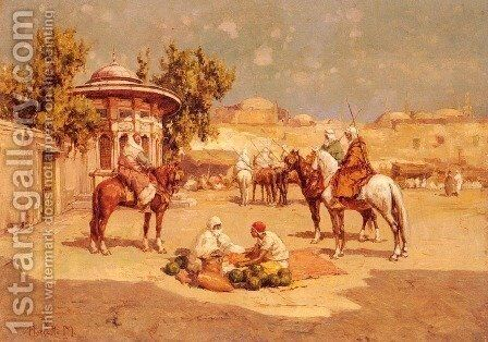 Warriors In A Market Square by Matteo da Angelo Rossotti - Reproduction Oil Painting