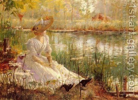 A Beauty By A River by Charles James Theriat - Reproduction Oil Painting