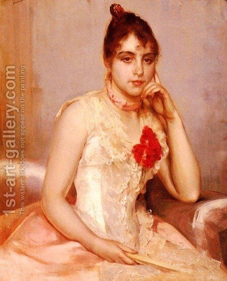 Spanish Beauty by Charles Hermans - Reproduction Oil Painting