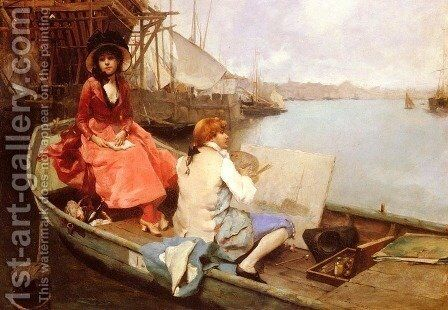 D'Apres Nature (After Nature) by Auguste Emile Pinchart - Reproduction Oil Painting